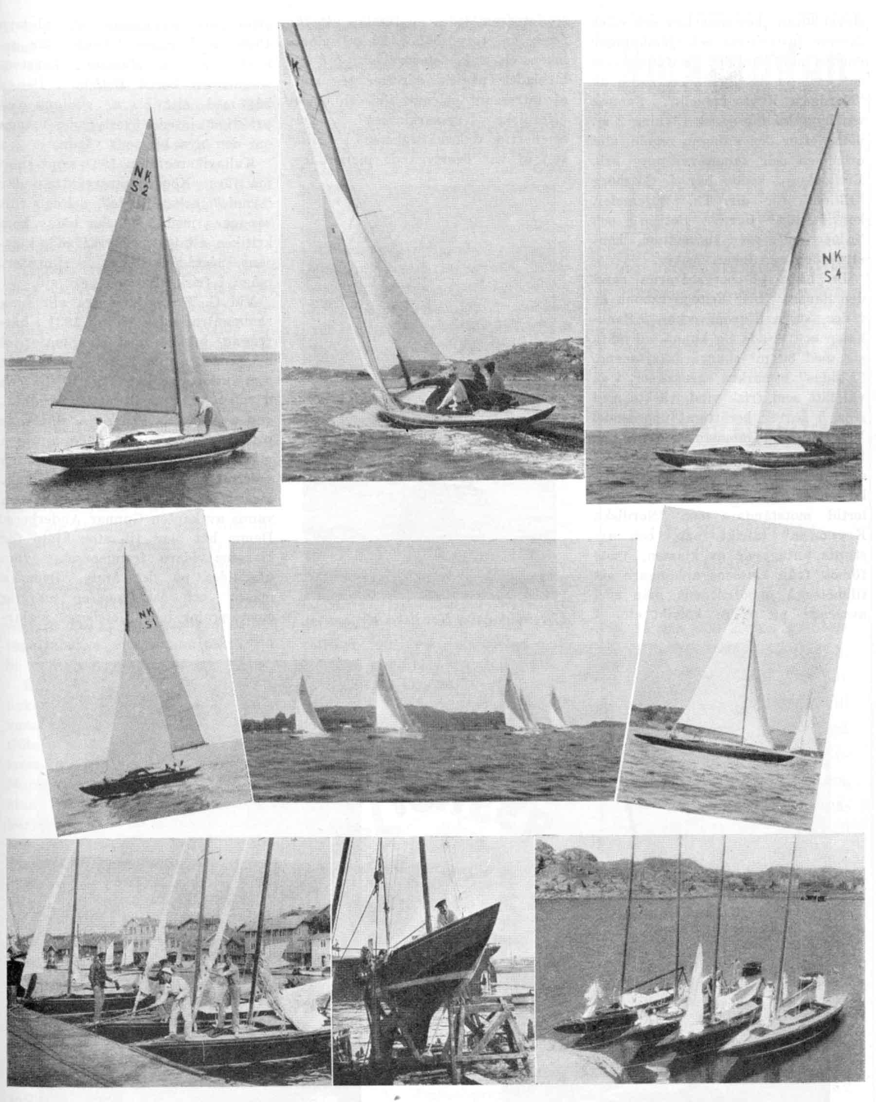 """Översta raden från vänster """"Albertina"""", """"Sunny II"""", """"Solglimt"""" (G. K. S. S. 1932). Mellersta raden från vänster """"Ellida"""", En kappsegling (vid Styrsö) i NK-klubben. """"Cynara"""", Nedersta raden från vänster I Smögens hamn """"Cynara"""", """"Sunny"""", """"Ellida"""". """"Sunny"""" på slipen. I Dyngö hamn fr. v. """"Annie"""", """"Cobra"""", """"Solglimt"""" och """"Ellida""""."""